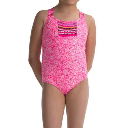 Limited Too Paisley One-Piece Swimsuit - Fully Lined (For Big Girls) in Pink - Closeouts