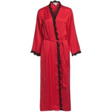 Linda Hartman Classic Tea Length Kimono - Long Sleeve (For Women) in Red - Closeouts