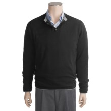 Linea Blu Cotton-Cashmere Henley Sweater - Reversible, Long Sleeve (For Men) in Black - Closeouts