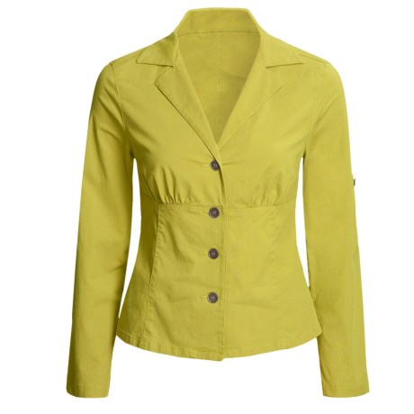 Linea Blu Fitted Cotton Jacket - Long Sleeve (For Women) in Lime