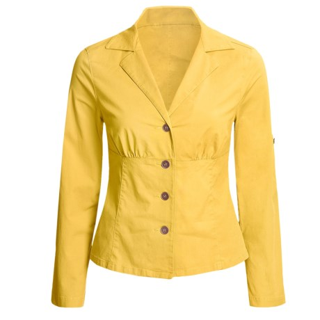 Linea Blu Fitted Cotton Jacket - Long Sleeve (For Women) in Yellow