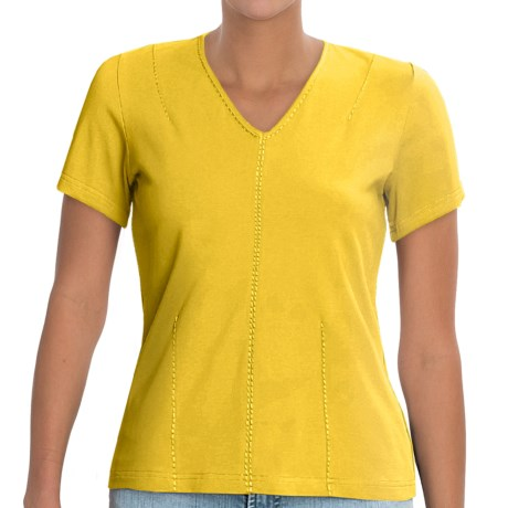 Linea Blu Handstitched Embroidery Shirt - V-Neck, Short Sleeve (For Women) in Lime