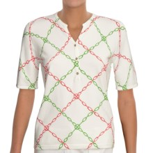 Linea Blu Knit Shirt - Cotton, Short Sleeve (For Women) in White/Pink/Green - Closeouts