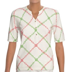 Linea Blu Knit Shirt - Cotton, Short Sleeve (For Women) in White/Pink/Green