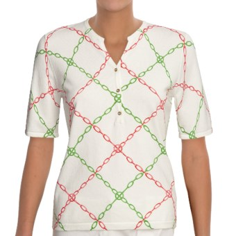Linea Blu Knit Shirt - Cotton, Short Sleeve (For Women) in White/Pink/Green