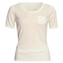 Linea Blu Merino Wool Sweater - Fully Fashioned, Short Sleeve (For Women) in Cream - Closeouts
