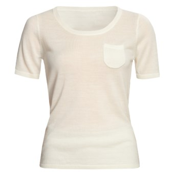 Linea Blu Merino Wool Sweater - Fully Fashioned, Short Sleeve (For Women) in Cream