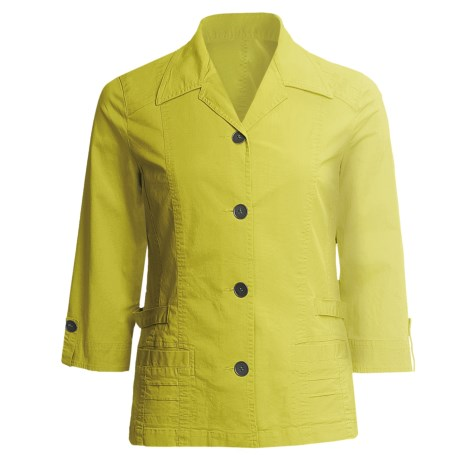 Linea Blu Princess Seam Jacket - Cotton, 3/4 Sleeve (For Women) in Lime