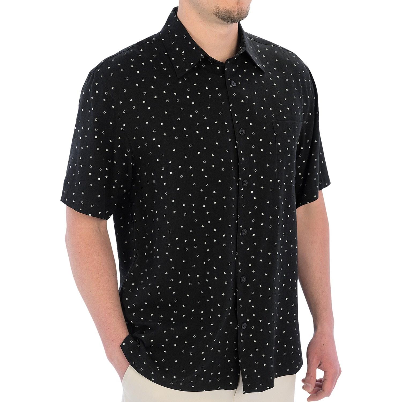 Linea rosso diamond print shirt silk blend short sleeve for Silk short sleeve shirt