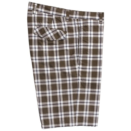 Linea Rosso Plaid Shorts - Cotton, Flat Front (For Men) in Brown