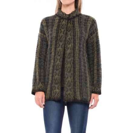Lineamaglia Mohair Multicolor Cardigan Sweater - 3/4 Sleeve (For Women) in Green - Closeouts