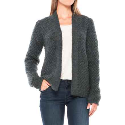 Lineamaglia Mohair Rib-Stitch Cardigan Sweater (For Women) in Petrol - Closeouts