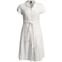 Linen-Blend Shirtwaist Dress - Short Sleeve (For Plus Size Women) in White - 2nds