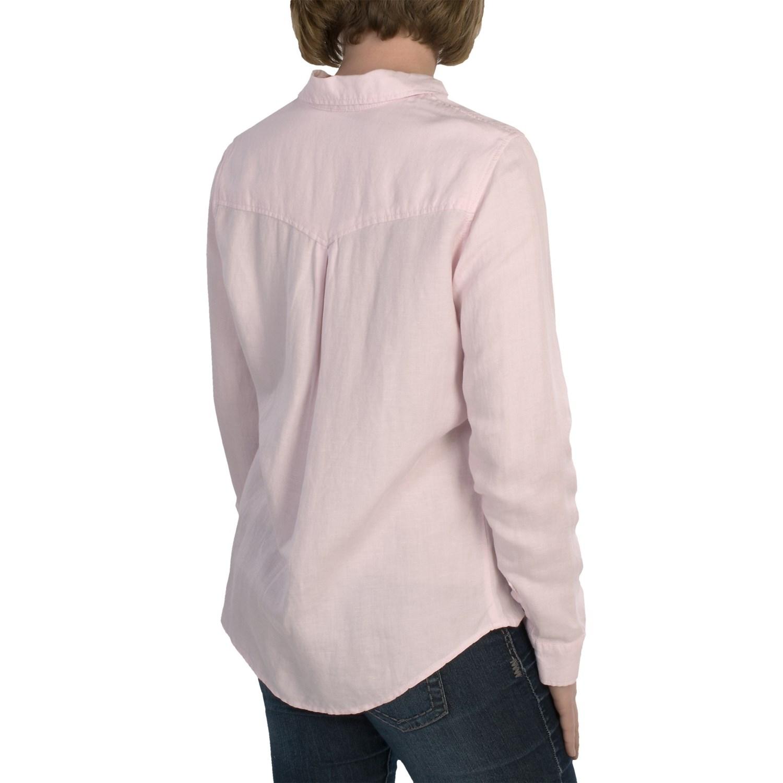 Linen blend woven shirt for women 6880w save 72 for Long linen shirts for womens