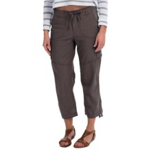 Linen-Cotton Cargo Capris (For Women) in Grey - 2nds