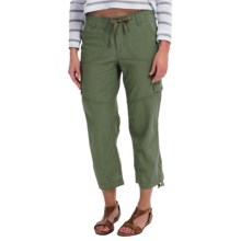 Linen-Cotton Cargo Capris (For Women) in Olive - 2nds
