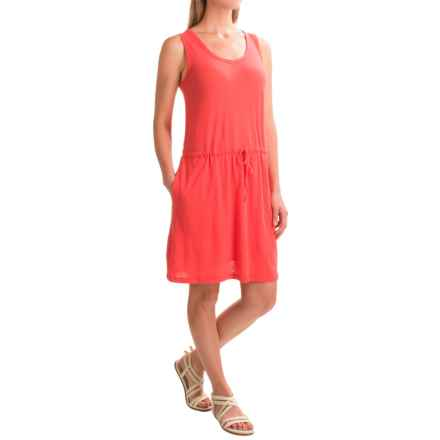 Linen-Cotton V-Neck Dress - Sleeveless (For Women) in Dark Coral - 2nds