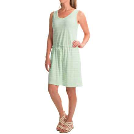 Linen-Cotton V-Neck Dress - Sleeveless (For Women) in Mint/White Stripe - 2nds