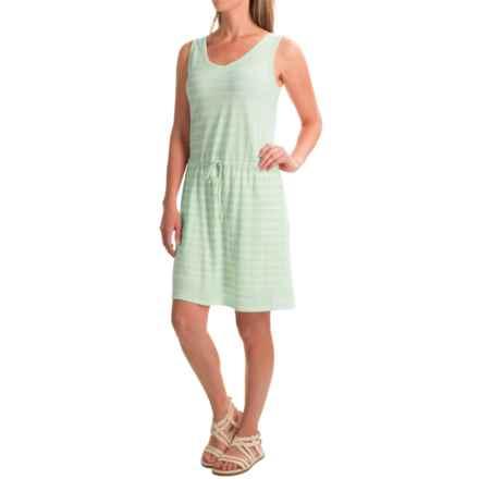 Linen-Cotton V-Neck Dress - Sleeveless (For Women) in Mint/White Stripe - 2nds