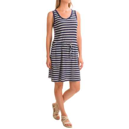 Linen-Cotton V-Neck Dress - Sleeveless (For Women) in Navy/White Stripe - 2nds