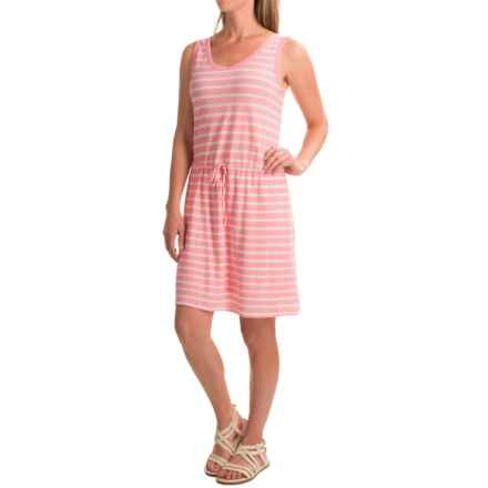 Linen-Cotton V-Neck Dress - Sleeveless (For Women) in Pink/White Stripe - 2nds