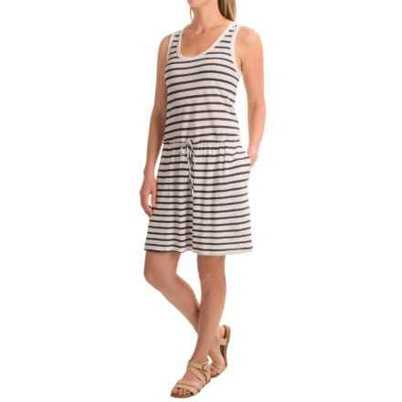 Linen-Cotton V-Neck Dress - Sleeveless (For Women) in White/Navy Stripe - 2nds