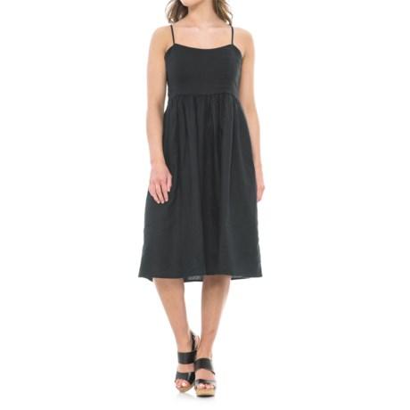 Linen Midi Dress - Adjustable Straps (For Women)
