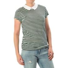 Linen Peter Pan Shirt - Short Sleeve (For Women) in Black/Blue - 2nds