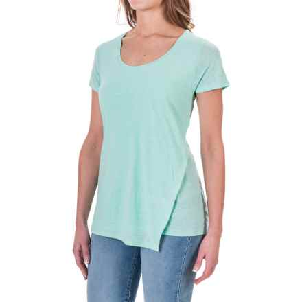 Linen-Rayon Asymmetrical Shirt - Short Sleeve (For Women) in Mint - 2nds