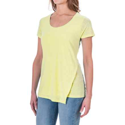 Linen-Rayon Asymmetrical Shirt - Short Sleeve(For Women) in Citron - Closeouts