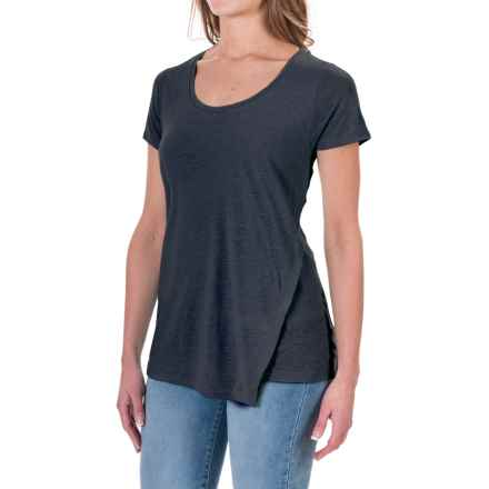 Linen-Rayon Asymmetrical Shirt - Short Sleeve(For Women) in Navy - Closeouts
