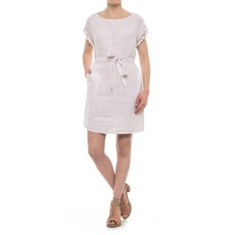 Linen Tassel Dress - Short Sleeve (For Women)