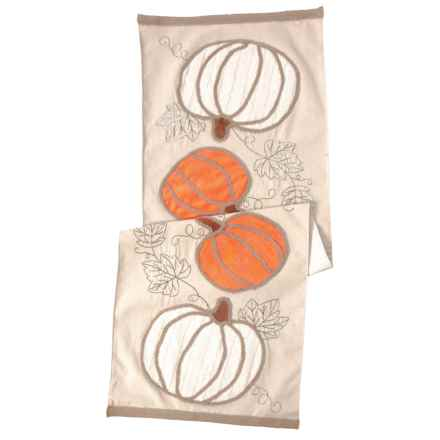 "Linens 'n Things Cable Pumpkins Table Runner - 16x48"" in Orange - Closeouts"