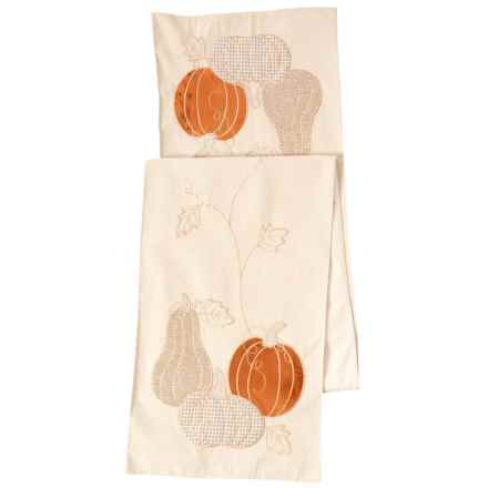"Linens 'n Things Long Lace Velvet Pumpkins Table Runner - 14x72"" in Orange - Closeouts"