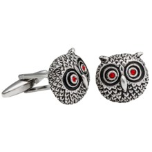 Link Up Antiqued Owl Head Cufflinks (For Men) in Antiqued - Closeouts