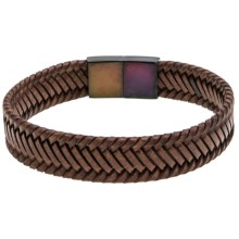 Link Up Braided Leather Bracelet - Gunmetal Clasp (For Men) in Brown - Closeouts