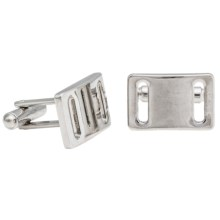 Link Up Buckle Cufflinks (For Men) in Silver - Closeouts
