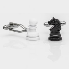 Link Up Chess Cufflinks (For Men) in Black/White - Closeouts