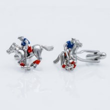 Link Up Moving Jockey Cufflinks (For Men) in Silver - Closeouts