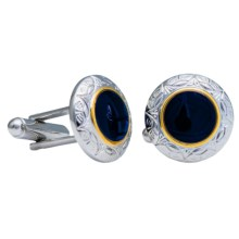 Link Up Round Gothic Cufflinks (For Men) in Navy - Closeouts