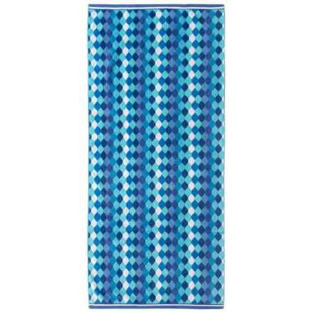"Lintex Diamonds Cotton Velour Beach Towel - 31x68"" in Blue Combo - Closeouts"