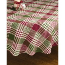 "Lintex Holiday Plaid Round Table Cloth - 70"" in Patchwork - Closeouts"
