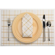 Lintex Shimmer Plaid Cloth Napkins - Set of 4 in Gold - Closeouts