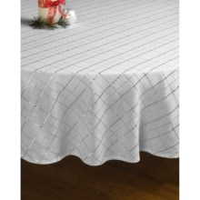 "Lintex Shimmer Plaid Round Table Cloth - 70"" in Silver - Closeouts"