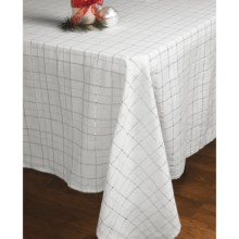 "Lintex Shimmer Plaid Table Cloth - 60 x104"" in Silver - Closeouts"
