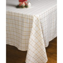 "Lintex Shimmer Plaid Table Cloth - 60x84"" in Gold - Closeouts"