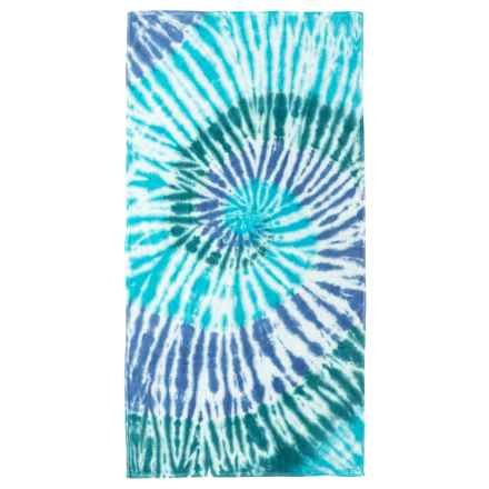 "Lintex Tie-Dye Cotton Velour Beach Towel - 30x60"" in Blue - Closeouts"