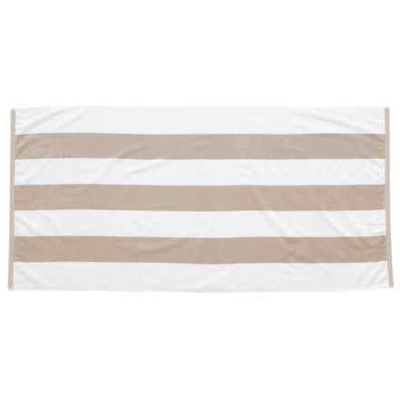 "Lintex Tropical Havana Cotton Velour Stripe Beach Towel - 34x68"" in Sand - Closeouts"