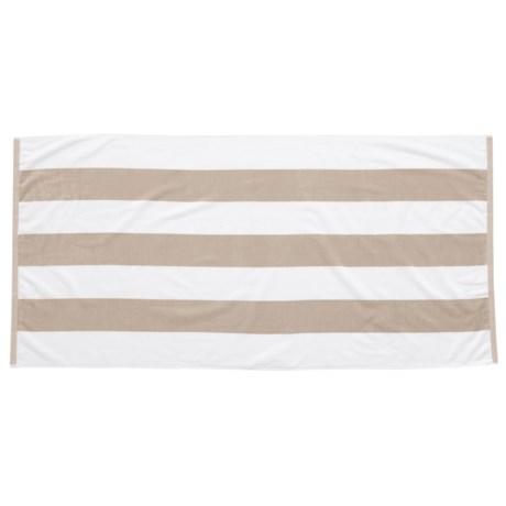 "Lintex Tropical Havana Cotton Velour Stripe Beach Towel - 34x68"" in Sand"