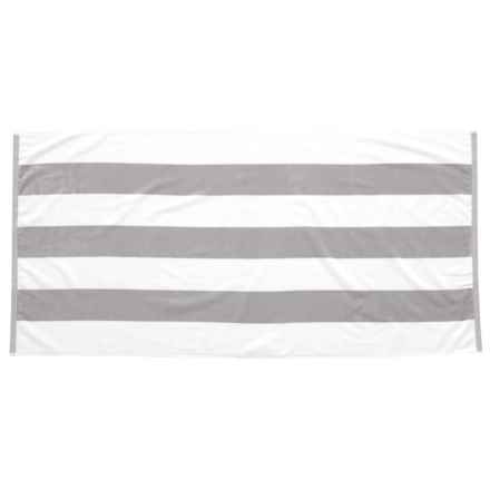 "Lintex Tropical Havana Cotton Velour Stripe Beach Towel - 34x68"" in Silver - Closeouts"